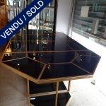Ref : MT944  - Grande table en 4 parties Métal et verre - VENDU