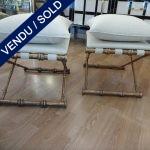 Ref : MC760  - Paire de tabourets Métal doré - VENDU
