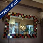 Ref : MI958 - Pair of mirrors with tinted glass border - SOLD
