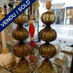 "Ref : LL962 - Paire de lampes Murano signées ""TOSO"" - SOLD"