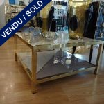 Ref : MT946 - Table basse verre teinté /laiton