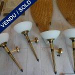Ref : LA226 - 4 appliques métal doré Coupelles en verre - VENDU