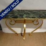 Ref : 15  - Console fer forgé doré et marbre - VENDU