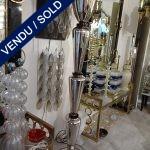 Ref : LL308 - Paire de lampadaires miroir et verre de Murano - VENDU