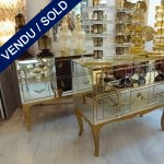 Set of commodes in mirror - legs golden - SOLD
