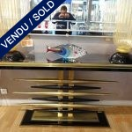 Ref : 16 - Console with tinted glass and brass - SOLD
