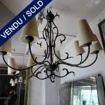 Ref : L948 - Lustre fer forgé 8 branches - VENDU