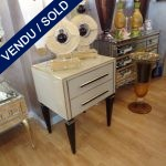 Ref : M89 - Set of 2 nightstands in beige mirror - SOLD