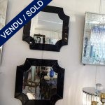 Ref : MI970  - Pair of mirrors with black tinted glass surround - SOLD