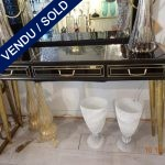 Ref : CL 18  - Wood and tinted glass console with brass feet - SOLD