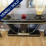 Ref : CL17  - Pair of wood, tinted glass and brass consoles - SOLD