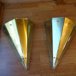 Ref : LA233 - Pair of of glass ans metal sconces