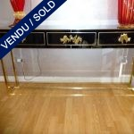 Ref : CL20  - Tinted glass - brass with 3 drawers - SOLD