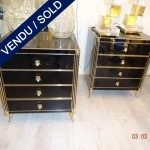 Ref : M232  - Pair Tinted glass - brass - SOLD