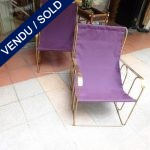 Ref : MC755 - Pair of gilt metal chairs and removable fabric - SOLD