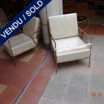 Suite de 6 fauteuils métal doré et coussins déhoussables - VENDU