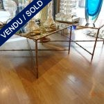 Set of metal coffee tables, bamboo mirror - SOLD