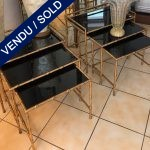Ref : MT960 - Pair of 3 nested tables glass and metal - bamboo-like