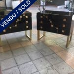 Ref : M235 - Pair of black tinted glass commodes - SOLD