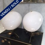 Ref : LL335 - Pair of Lamps - Glass and Metal - SOLD