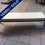 Ref : MC759a - White leather top bench signed Giorgetti