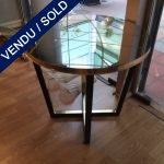 Ref : MT952 - Tinted glass and brass pedestal table - SOLD