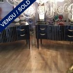 Ref : M239 - Pair of commodes - tinted glass and brass - SOLD
