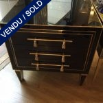 Ref : M241 - Set of 2 Bedsides - tointed glass and brass - SOLD
