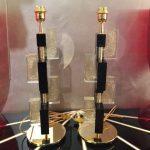 Ref : LL346 - Paire de lampes en verre de Murano et laiton