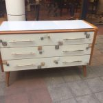 Ref : M246 - White tinted glass, wood and Murano tinted glass ,circa 70 70/80's
