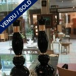 set of black and gilded lamps in glass of Murano - SOLD