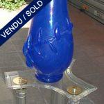 Ref : V8 - Vase bleu Franco MORETTI