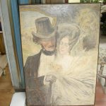 Ref : ADT006 - Oil : couple of lovers about 1900 Charles LEANDRE