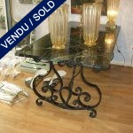 Table in marble from Alps, feet in wrought iron - SOLD