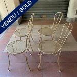 Ref : MC779 - Suite de 4 chaises en métal doré